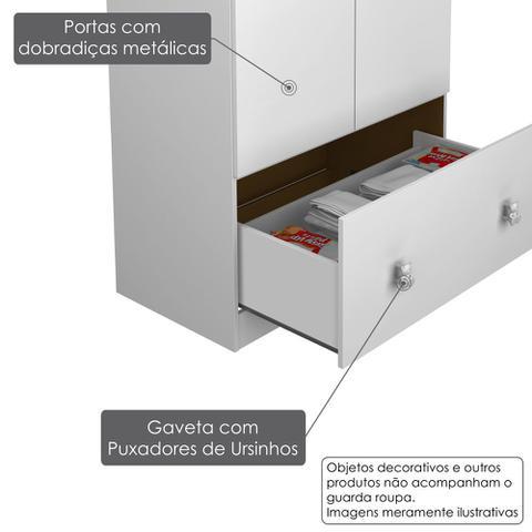 Imagem de Roupeiro Infantil 2 Portas 1 Gaveta 1 Cabideiro Satriani - Pintura UV - Flex Branco Brilho/ Rosa