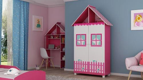 Imagem de Roupeiro Infantil Menina Casinha Pink Com 2 Portas E Pés