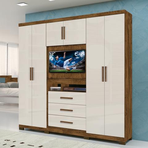 Imagem de Roupeiro Multifuncional 06 Portas 03 Gavetas Com Painel Para Tv De 32 Dubai