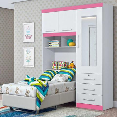 Imagem de Roupeiro para cama box solteiro duster 3 portas com baú - branco/rosa