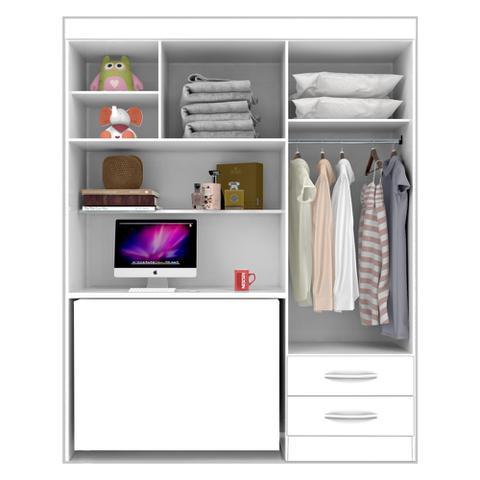 Imagem de Roupeiro Solteiro 04 Portas 02 Gavetas Com Sistema Flex Color Denver