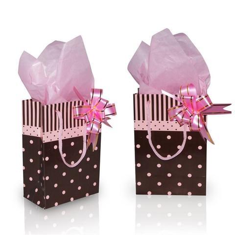 Imagem de Sacola para Presentes Poás Rosa e Marrom 10 unidades