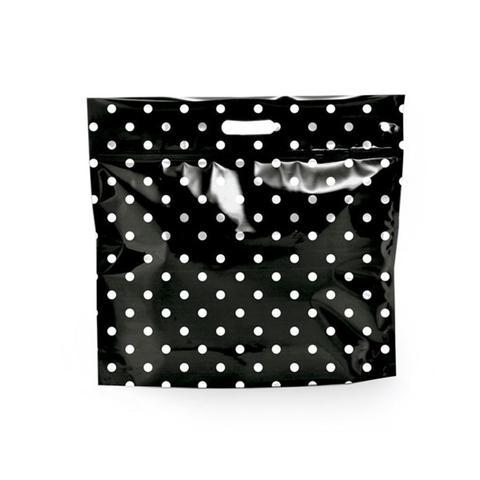 Imagem de Sacolas Gift para Presentes com Ziper Metalizado Preto com Poá Branco P Cromus