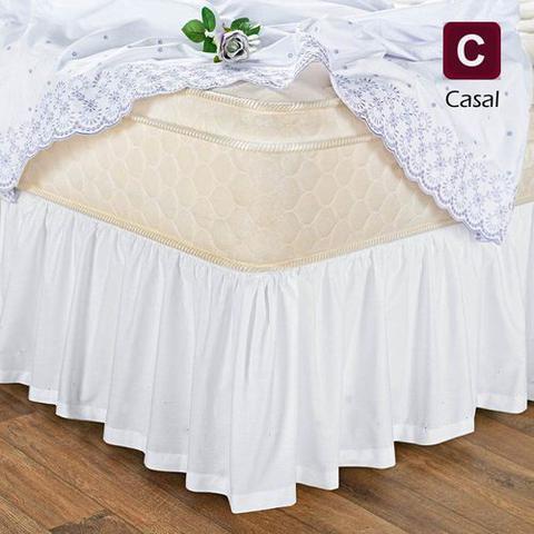 Imagem de Saia Box Cama Casal Com Elástico Branca - branca