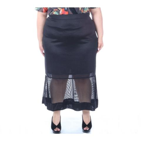 Imagem de Saia elegance plus size midi com recorte em tela na barra