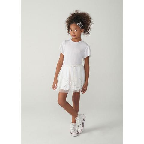 Imagem de Saia Infantil Menina Em Tecido De Algodão Com Tule