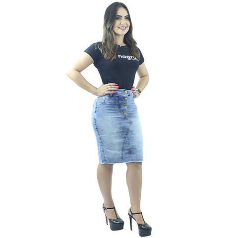 Imagem de Saia Jeans Azul Claro 4 Botões na Frente Anagrom Ref.113