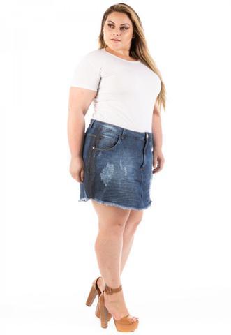 Imagem de Saia Jeans Curta Destroyed Olaf Plus Size