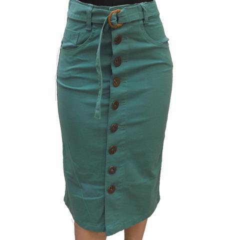 Imagem de Saia Jeans midi Brim Verde claro com Botões e Laço