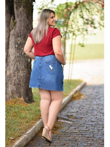 Imagem de Saia Jeans Midi Destroyed Feminina Cambos Plus Size