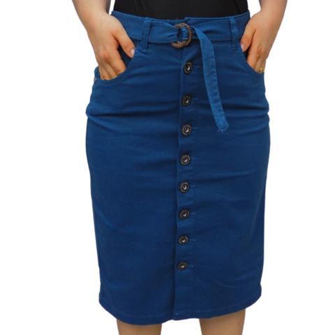 Imagem de Saia Jeans midi Moda Evangélica Azul petróleo Botões e Laço