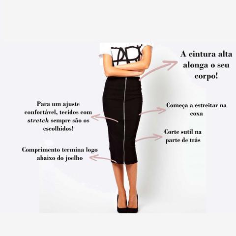 Imagem de Saia Lapis Midi Feminina Cintura Alta Secretaria Social P/gg