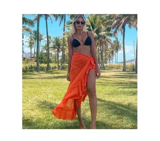 Imagem de Saia Longa Pareô Saida Praia Canga Moda Verão Lançamento Cor Laranja