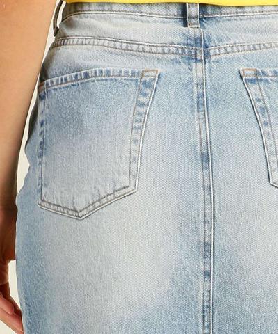 Imagem de Saia Midi Feminina Jeans Destroyed Barra Desfiada Marisa