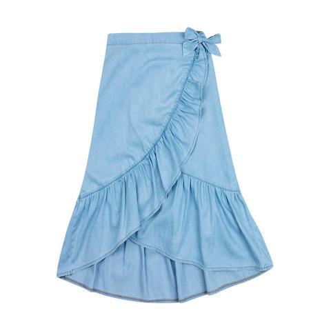 Imagem de Saia Midi Infantil Menina Em Jeans Com Transpasse Hering Kids