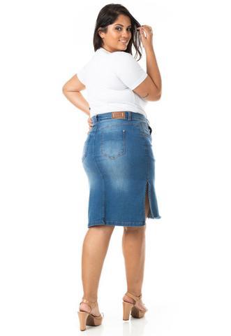 Imagem de Saia Midi Jeans com Fenda Lateral Plus Size