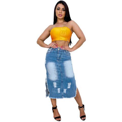 Imagem de Saia Midi Jeans Destroyed com nas rasgo laterais - EWF Jeans