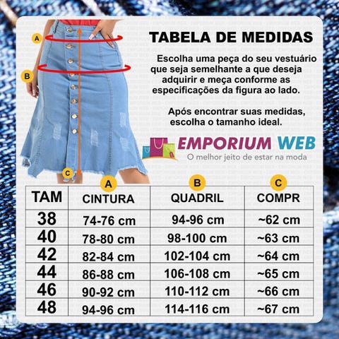 Imagem de Saia Midi Jeans Destroyed com rasgo Inferior - EWF Jeans - Azul Claro