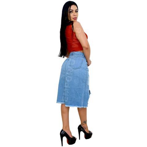 Imagem de Saia Midi Jeans Destroyed rasgo frontal - EWF Jeans - Azul Claro