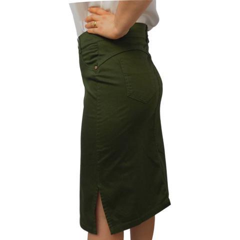 Imagem de Saia Midi Jeans Moda Evangélica Verde Militar