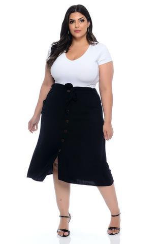 Imagem de Saia Midi Plus Size Preta Viscose Monalisa