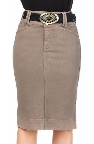 Imagem de Saia Midi Reta em Jeans Marrom com Cintura Alta Dyork Jeans