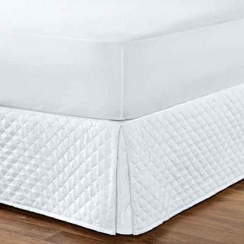 Imagem de Saia Para Cama Box Queen Size Com Tecido Matelado Branco