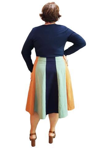 Imagem de Saia Plus Size Midi Tricolor Camurça