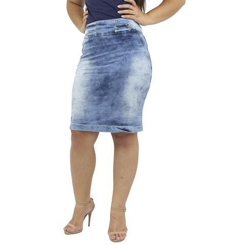 Imagem de Saia Secretária Jeans Azul Claro Anagrom Ref.137