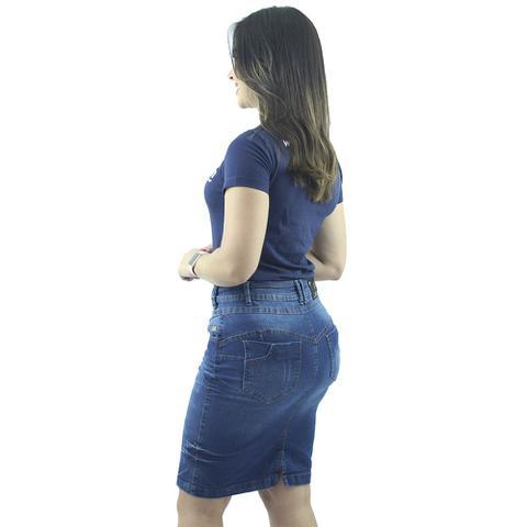 Imagem de Saia Secretária Jeans Cós Transpassado Anagrom Ref 117