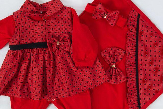 Imagem de Saída De Maternidade Menina 4 Peças Júlia Vermelho