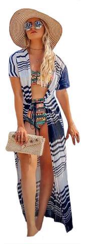 Imagem de Saída De Praia Longa Kimono Tricot Verão Zig Zag Verão Luxo
