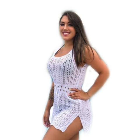 Imagem de Saída de praia vestido curto feminino sem manga branco