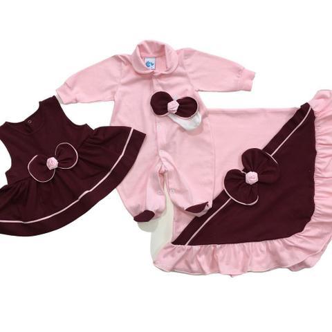 Imagem de Saída maternidade menina rosa delicada