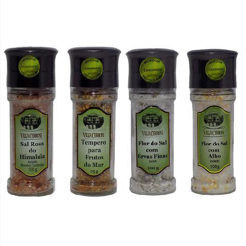 Imagem de Sal Rosa Himalaia, Frutos do Mar, Flor do Sal com Ervas, Flor do Sal com Alho