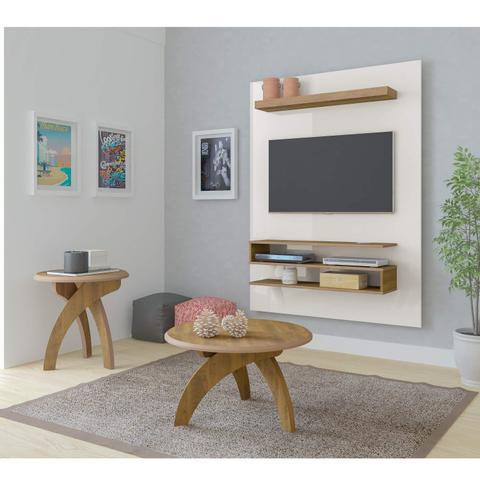 Imagem de Sala de Estar com Painel para TV até 42 Polegadas Orion Mesa de Centro e Mesa Lateral Jade Artely Off White/Pinho
