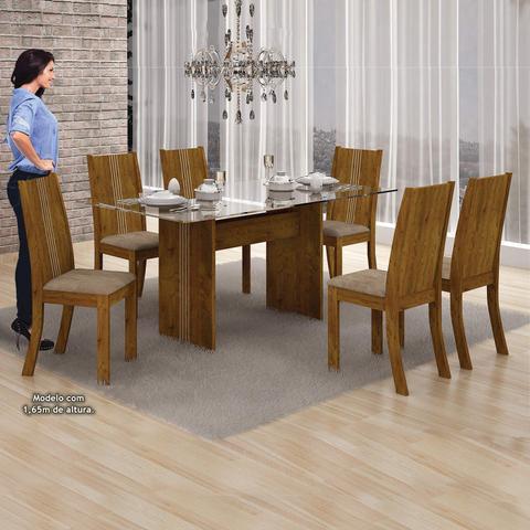 Imagem de Sala de Jantar Completa com Mesa Tampo Vidro, 6 Cadeira e Buffet Leifer Canela/Animale Capuccino