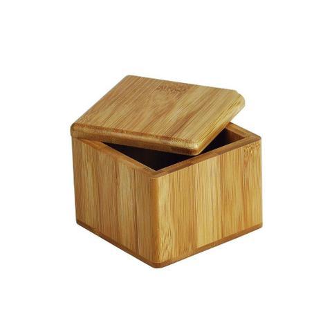Imagem de Saleiro Quadrado Porta Sal Em Bambu Tampa Giratória Welf
