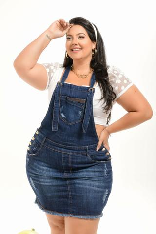 Imagem de Salopete Jardineira Feminina Jeans plus Size Cintura Alta
