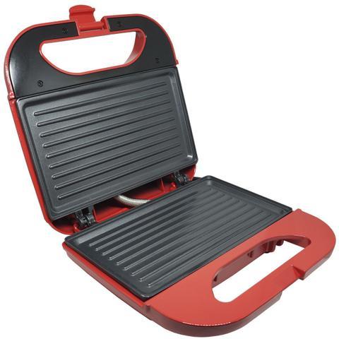 Imagem de Sanduicheira e Grill Elétrica 750W Lanches Dupla Antiaderente Vermelha Amvox AMS 370 RED