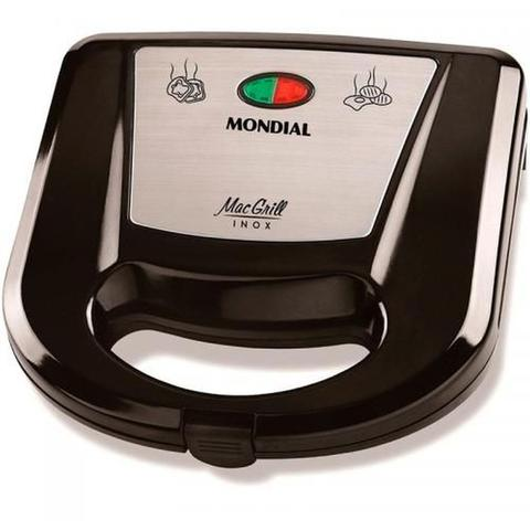 Imagem de Sanduicheira Grill Mondial Mac Inox S-11 Preto/Prata - 127V