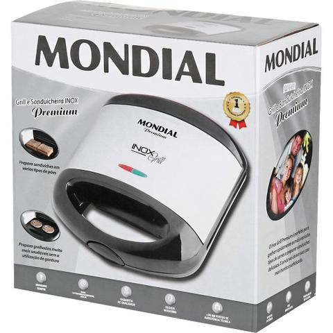 Imagem de Sanduicheira Grill Mondial Premium Inox Grill S-07 Preta/Prata
