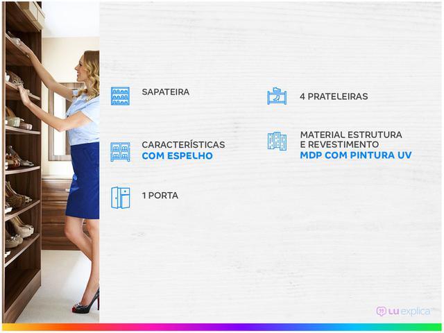 Imagem de Sapateira com Espelho 1 Porta 4 Prateleiras