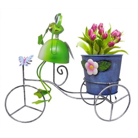 Imagem de Sapo Bicicleta De Ferro Enfeite Decoraçao Jardim Flores Casa
