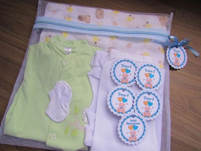 Imagem de Saquinho Maternidade C/ Zíper Azul Bebe 6 Unidades + 6 Tag Ursinho