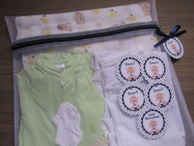 Imagem de Saquinho Maternidade C/ Zíper Azul Marinho 6 Unidades + 6 Tag Urso Principe