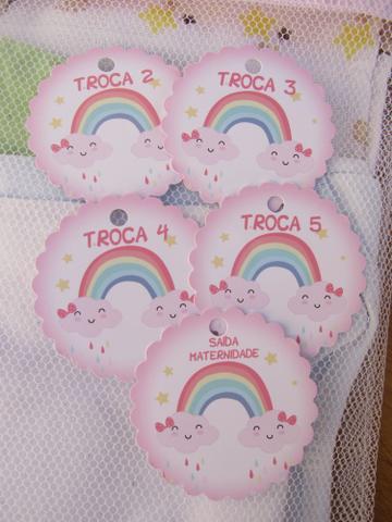 Imagem de Saquinho Maternidade C/ Zíper Rosa Bebê 6 Unidades + 6 Tag Nuvem Mod. 35