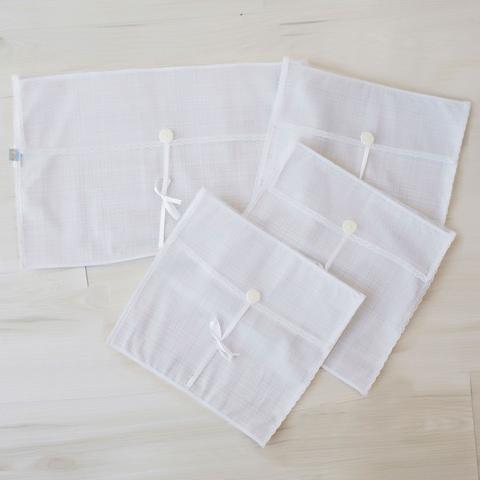 Imagem de Saquinhos Maternidade Grande para Roupas Duplo Tule Xadrez Cinza e Branco com Pérolas