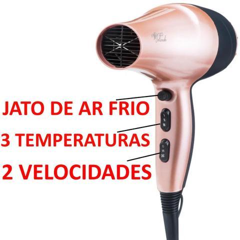 Imagem de Secador De Cabelo Essenza Delicada 2000w Profissional Motor Ac Modelador Nova Prancha Titanium Rose
