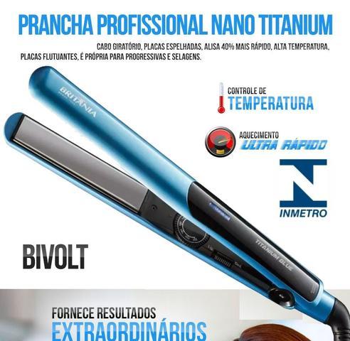 Imagem de Secador De Cabelo Mallory 4000 Ion Profissional Ar Quente Frio Com Difusor Prancha Titanium Azul Bivolt